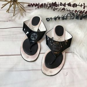 Chanel Black Logo CC Thong Sandals Size 41